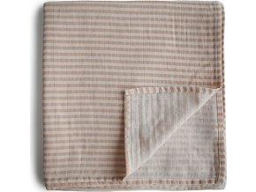 Mushie mušelínová zavinovačka z organickej bavlny Natural Stripes