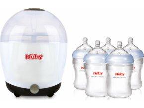 Nuby Elektrický sterilizátor + 5 lahví 210 ml