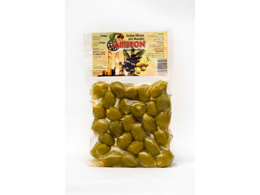 Olivy zelené plněné mandlí 200g, vacuum