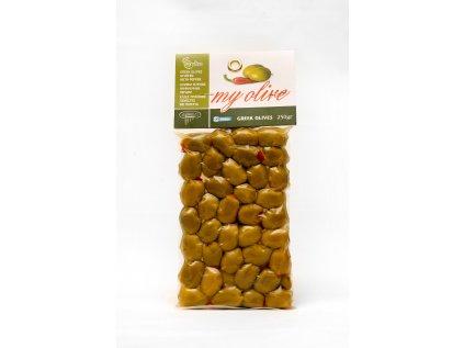 Olivy zelené plněné paprikou 250g, vacuum