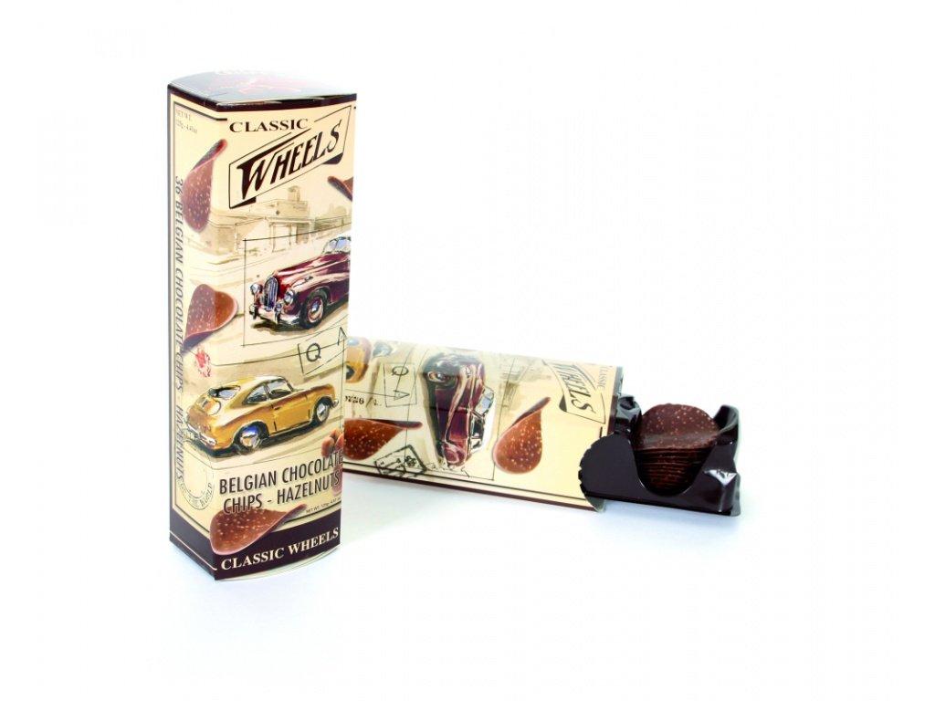 Wheels čokoládové chipsy s kousky lískových oříšků 125g