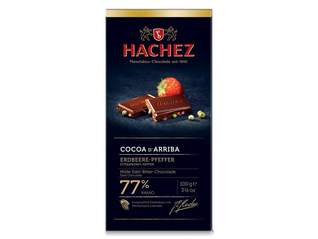 HA02 Hořká čokoláda Cocoa d´Arriba 77% s jahodami a zeleným pepřem Hachez 100g