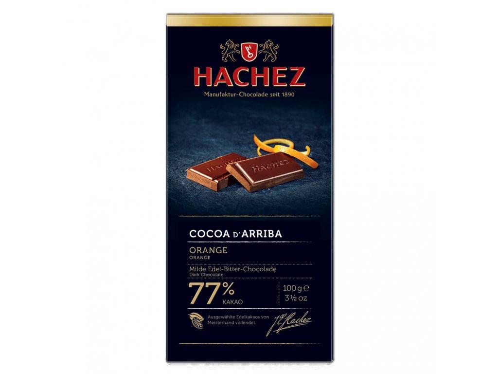 HA06 Hořká čokoláda Cocoa d´Arriba 77% s příchutí pomeranče Hachez 100g