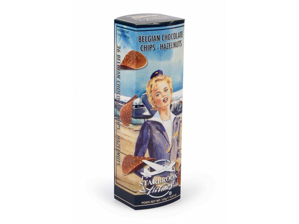 Starbrook Airlines čokoládové chipsy s kousky lískových oříšků 125g