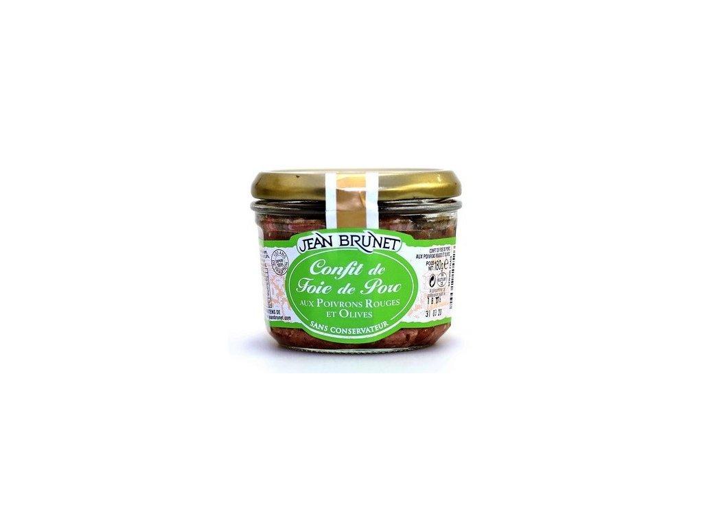 JB13 Jean Brunet confit z vepřových jater s paprikou a olivami 180g
