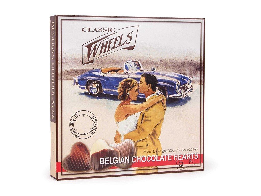 Wheels mléčná čokoládová srdíčka s náplní z lískových oříšků 200g