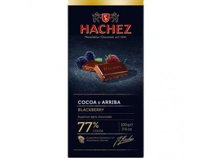 HA08 Hořká čokoláda Cocoa d´Arriba 77% s ostružinami a kousky kakaových bobů Hachez 100g