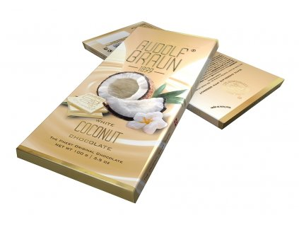 RB11 Belgická bílá čokoláda s kousky kokosu Rudolf Braun 100g ver2