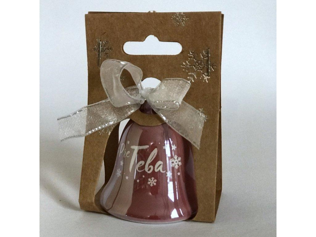 Vianočný zvonček s venovaním ružový