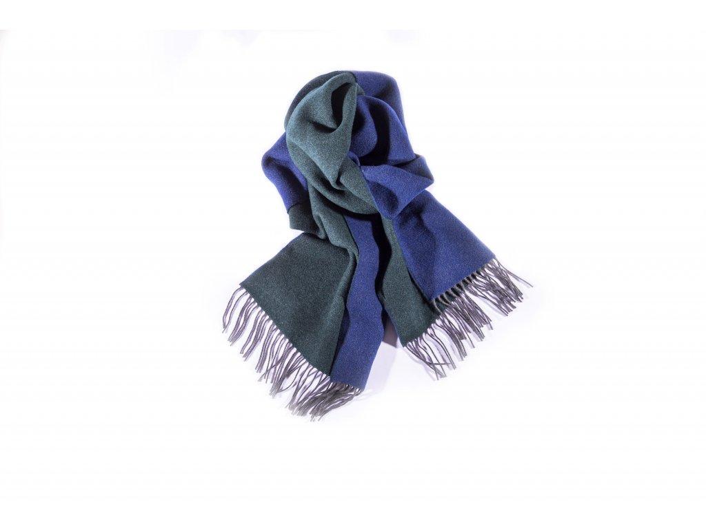 Šála Dormeuil 100% vlna, zeleno-modrá