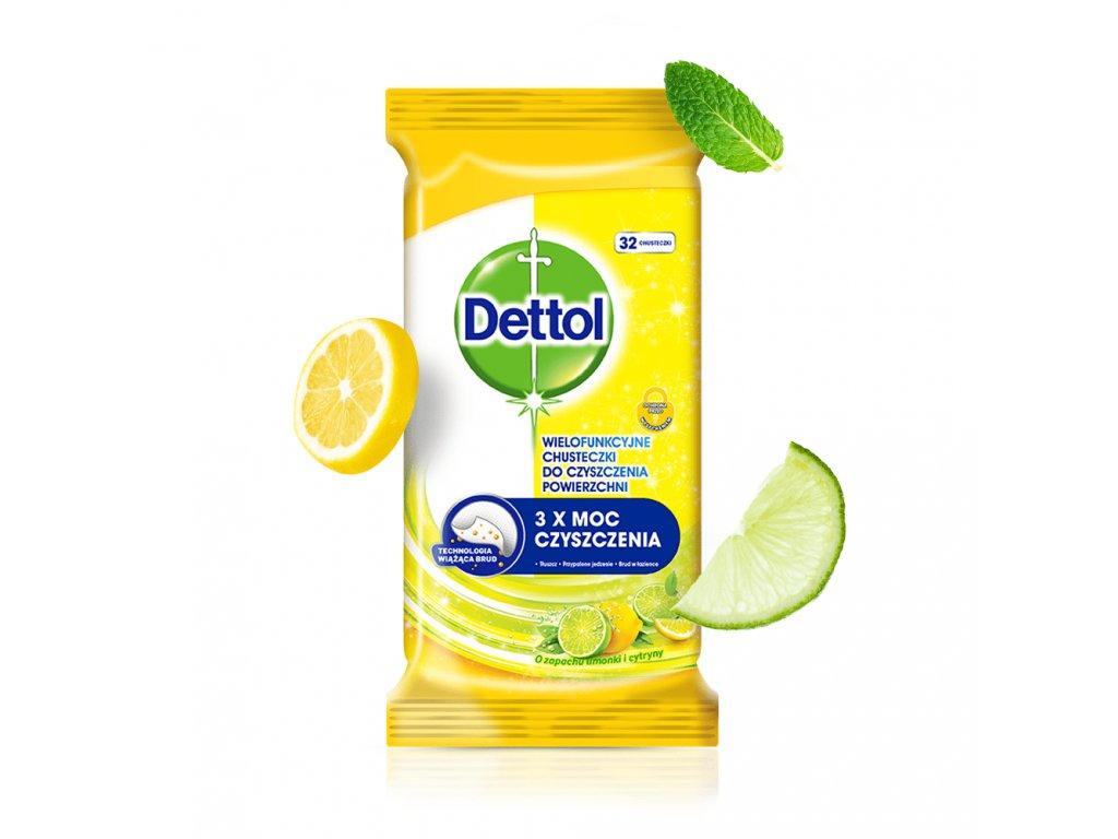 DETTOL antibakterialni dezinfekcni uterky ubrousky citron a limeta 36 ks