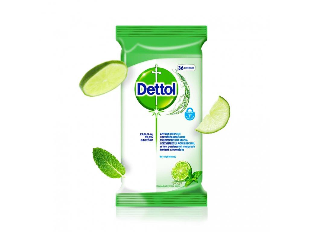 DETTOL antibakterialni dezinfekcni uterky ubrousky limeta mata 36 ks