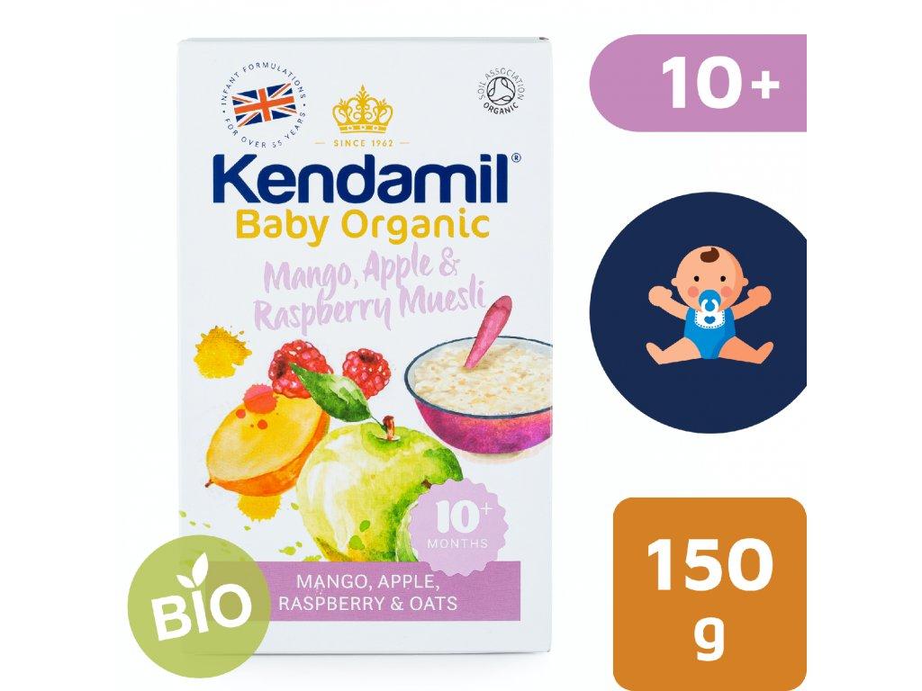 Kendamil BIO/Organická ovesná kaše s ovocem mango, jablko, malina – 150 g