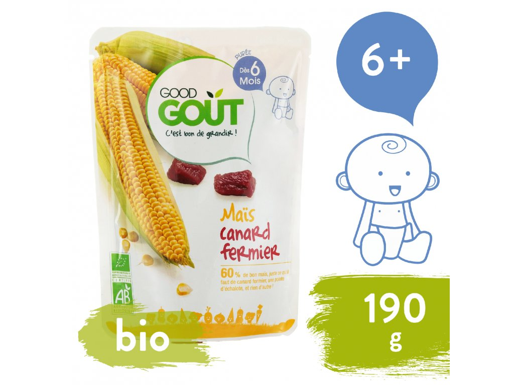 Good Gout BIO Kukuřice s kachním masem 190 g