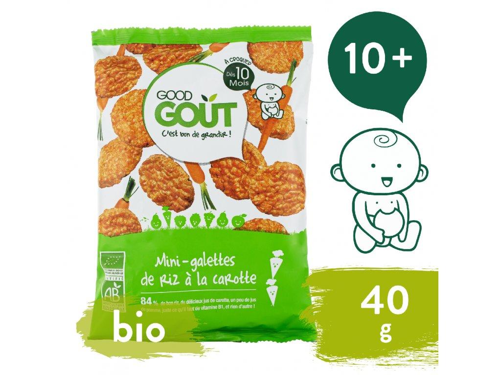 Good Gout BIO Mini rýžové koláčky s mrkví 40 g