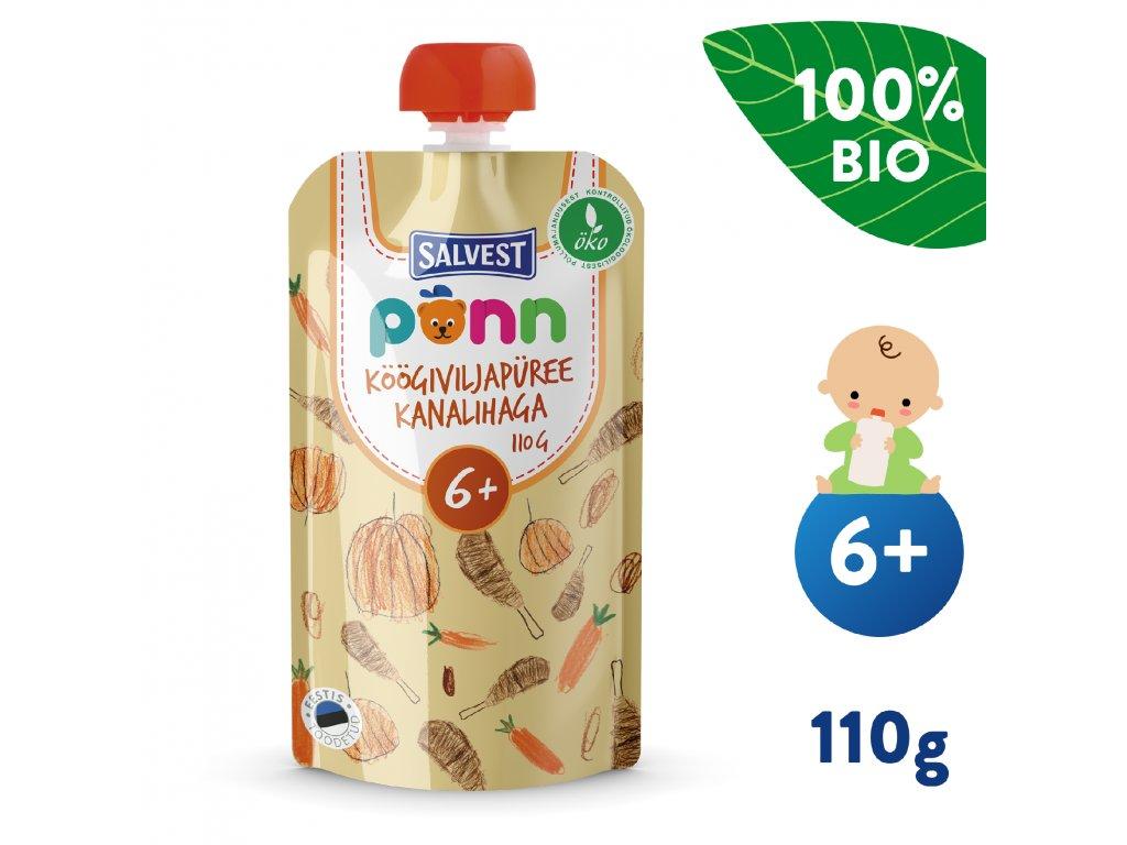 SALVEST Põnn BIO Kuřátko se zeleninovým pyré 110 g
