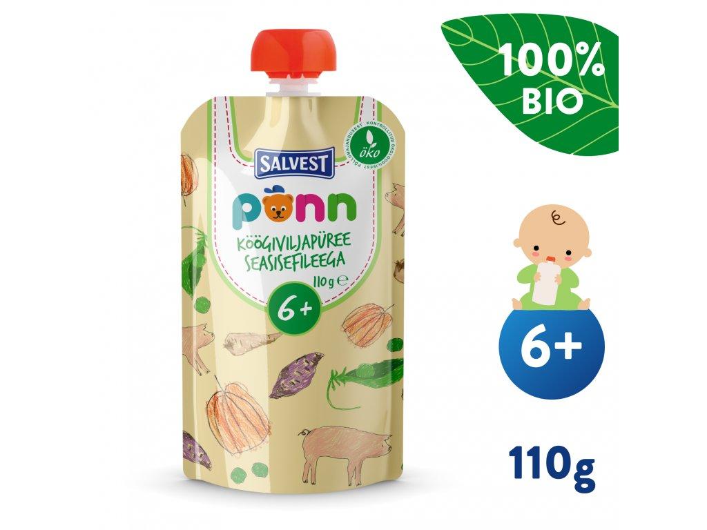 SALVEST Põnn BIO Vepřová panenka se zeleninovým pyré 110 g
