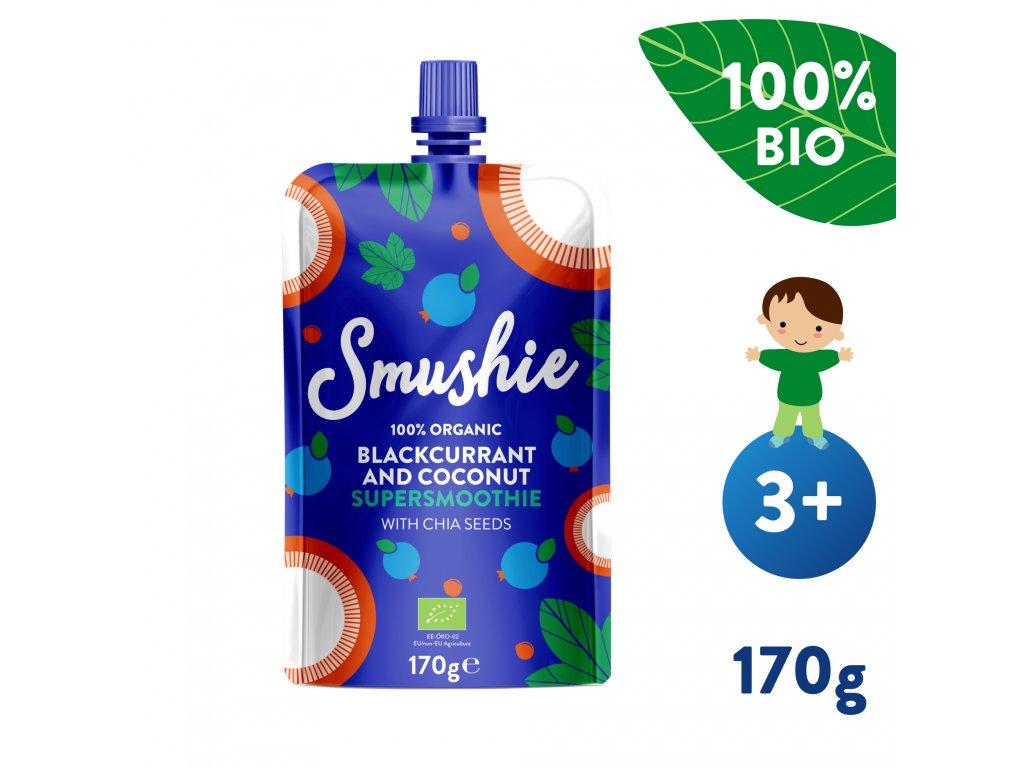 SALVEST Smushie BIO Ovocné smoothie s černým rybízem, kokosovým mlékem a chia semínky 170 g