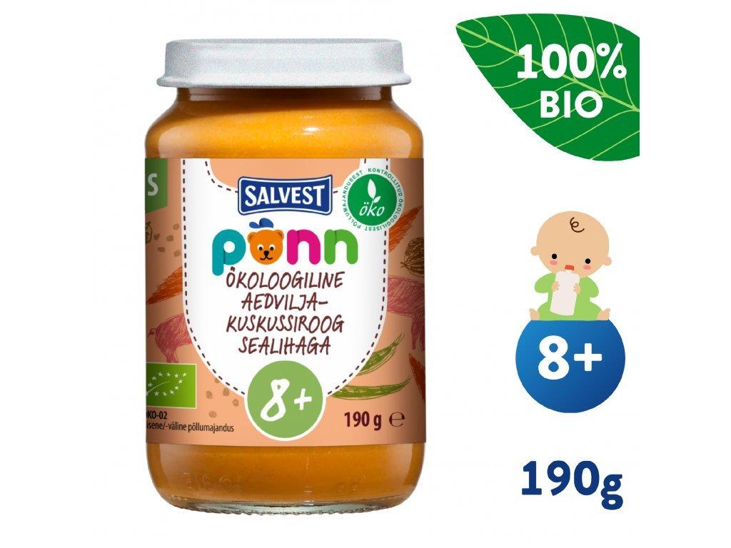 salvest ponn bio veprove maso s kuskusem a zeleninou 190 g 1