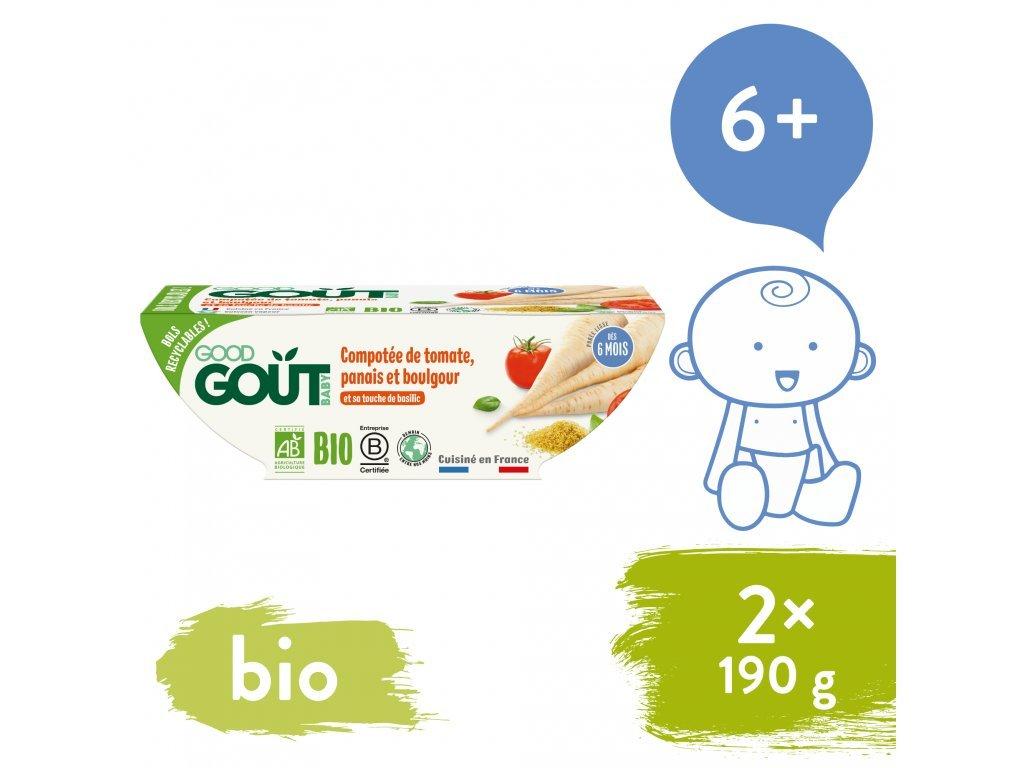 good gout bio rajcatka s pastinakem a bulgurem 2x190 g 1
