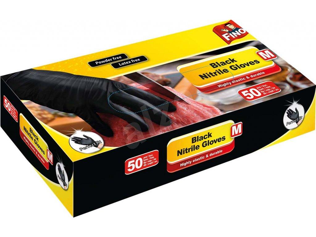 FINO nitrilove rukavice 50 ks velikost m cerne