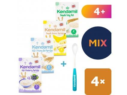 4x Kendamil variace kojeneckých kaší – banánová, borůvková, rýžová, ovesná