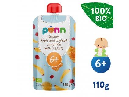 SALVEST Põnn BIO Ovocné smoothie s jogurtem a sušenkami 110 g