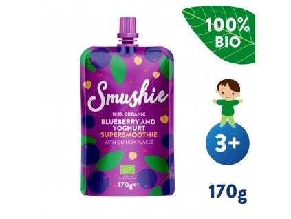 SALVEST Smushie BIO Ovocné smoothie s borůvkami, jogurtem a quinoou 170 g
