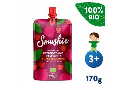 SALVEST Smushie BIO Ovocné smoothie s červenou řepou, malinami a konopnými semínky 170 g