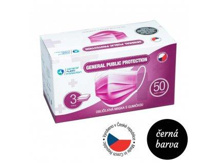 GENERAL PUBLIC protection jednorazova rouska ustenka 50 ks cerna barva vyrobeno v cr