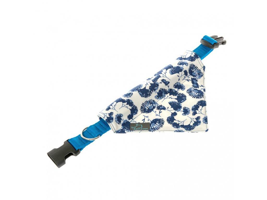maribor satek na obojek pro psa obojky na venceni vencici demeven jdemeven kvalitni krasny originalni stylovy s kovovou sponou svatebni modry bily kvetinovy