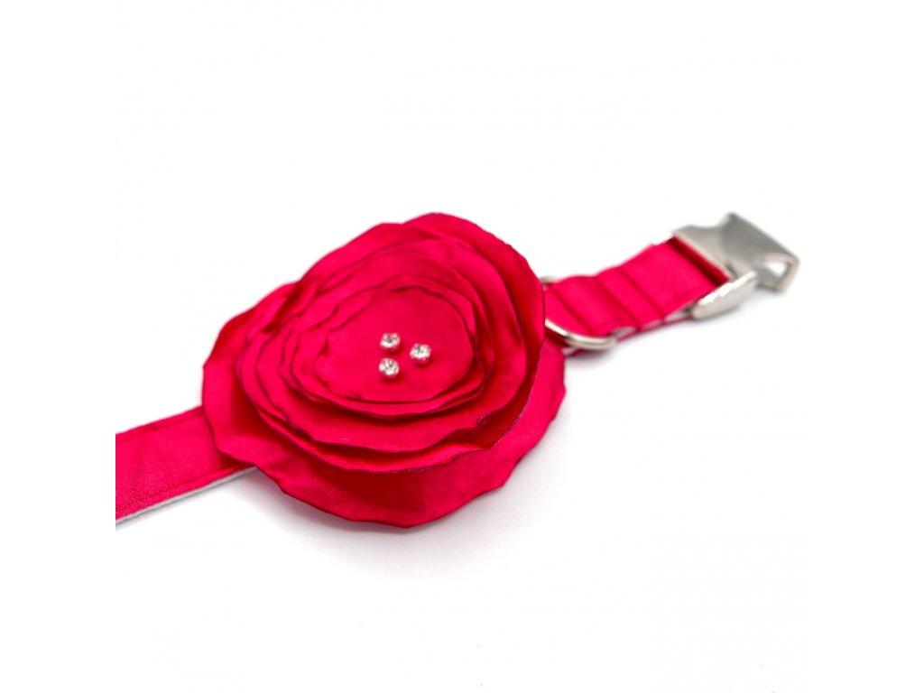Svatební obojek s květinou - Malinový