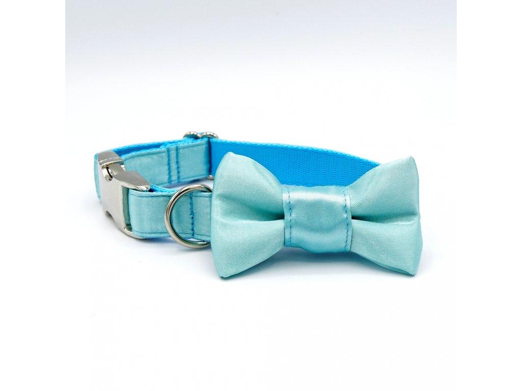 svatebni obojek pro psa psi s motylkem masli krasny satenovy demeven tyrkysovy blede modry svetle mentolovy