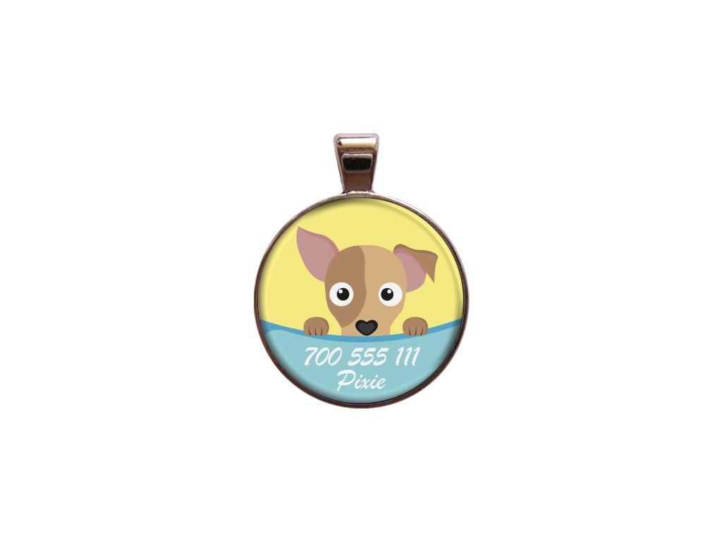 Pixie znamka pro psa psi telefonni cislo jmeno ryti kovova s plemenem demeven obojek se jmenem silueta