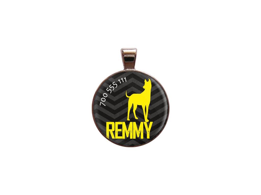 Remmy znamka pro psa psi telefonni cislo jmeno ryti kovova s plemenem demeven obojek se jmenem silueta