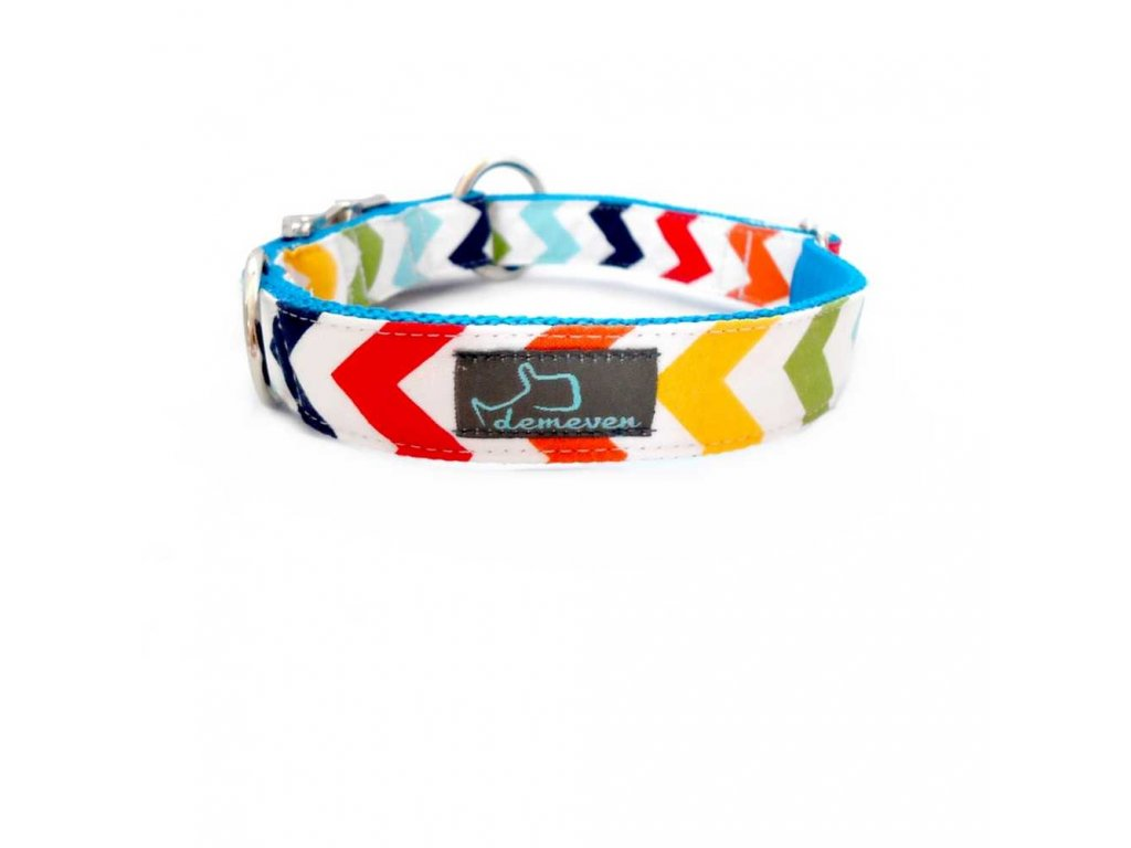 chevron Obojky pro psy obojek krasny stylovy designovy demeven s kovovou sponou dog collar beautiful stylish cerveny modry red blue psi obojek