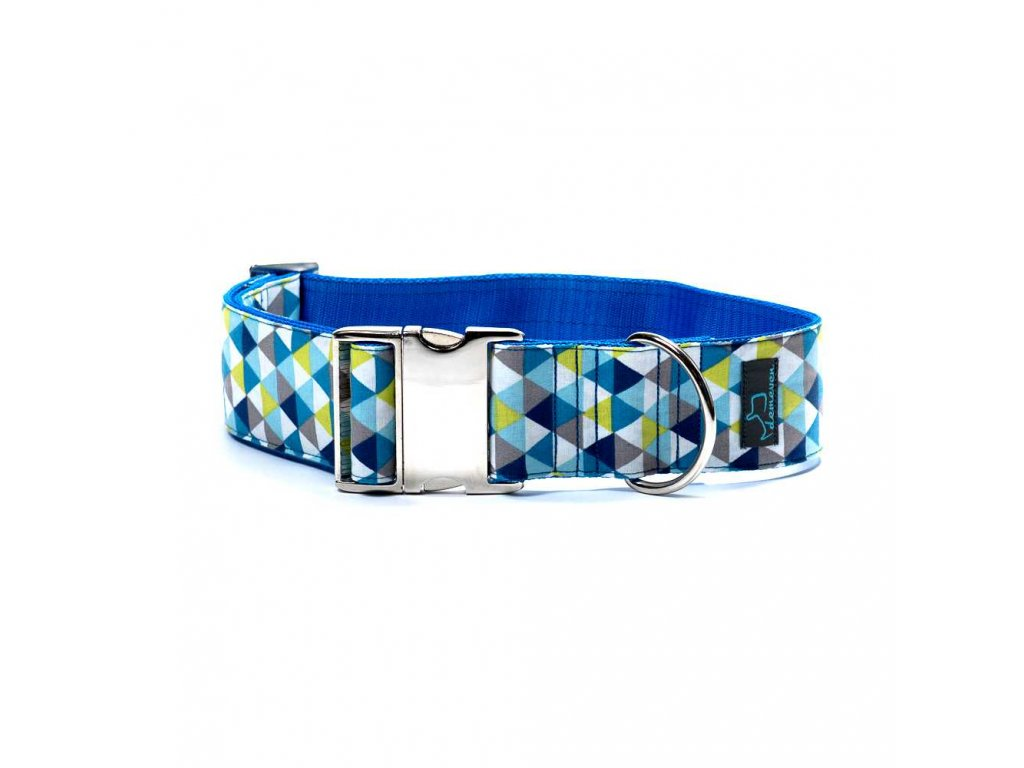 Triangle XL obojek pro psa siroky 5cm s kovovou sponou krasny pro velka premena dogu vlkodav staford dog collar demeven metal buckle blue modry