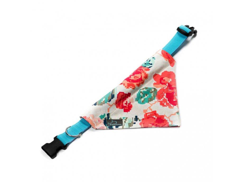 Digirose satek na obojek pro psa psi krasny stylovy luxusni modry cerveny kvetinovy demeven