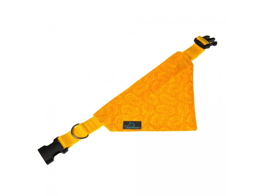 Yellow satek na obojek pro psa stylovy krasny zluty