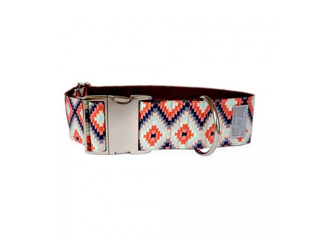 Indie XL shop Obojky pro psy obojek krasny stylovy designovy demeven s kovovou sponou dog collar beautiful stylish hnedy ruzovy psi obojek