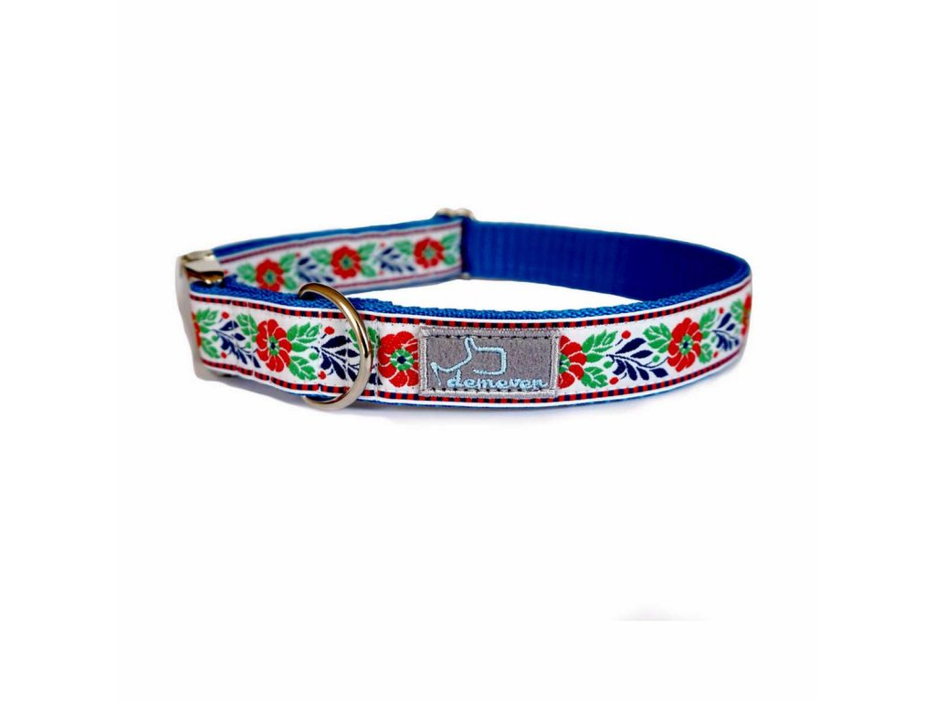 Baldachynek bilo modra shop obojek pro psa psi folklorni krasny svatebni stylovy modry vysivany demeven cesky handmade