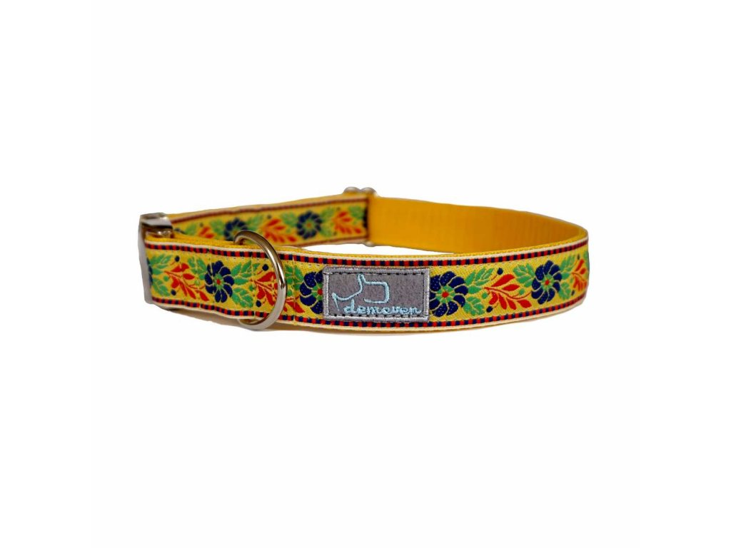 dusinka zluta shop obojek pro psa psi folklorni krasny svatebni stylovy modry vysivany demeven cesky handmade