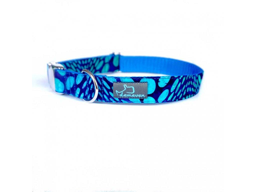 Ufo Obojky pro psy obojek krasny stylovy designovy demeven s kovovou sponou dog collar beautiful stylish blue modry batic batikovany psi obojek