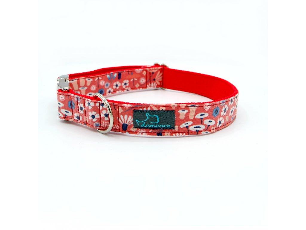 Gardenia obojek krasny cerveny pro psa s kovovou sponou demeven laminovany stylovy kvetinovy jdeme ven psi obojky designovy