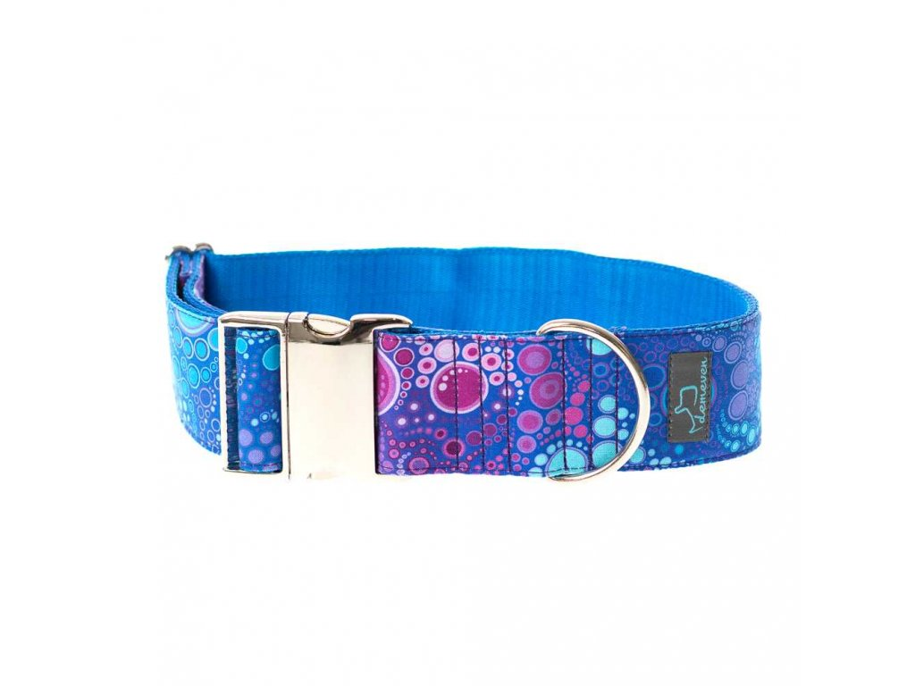 Bajkal XL siroky obojek s kvalitni kovovou sponou 5 4 cm krasny stylovy pro psa barevny modry fialovy cesky demeven velka plemena bojova chrty vetsi mohutny tlusty bull