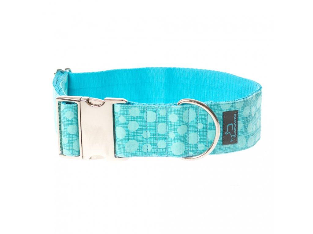 Barbados XL siroky obojek s kvalitni kovovou sponou 5 4 cm krasny stylovy pro psa barevny tyrkysovy modry demeven velka plemena bojova chrty vetsi mohutny tlusty bull