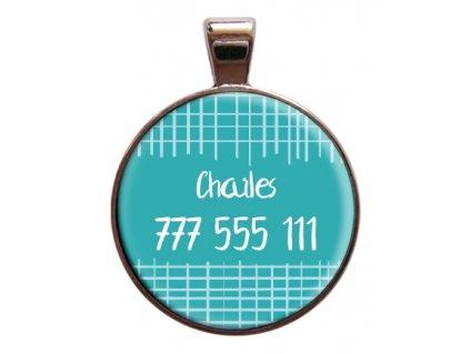 Barbados Charles znamka pro psa na obojek se jmenem telefonnim cislem psi vyryti znamky barevna