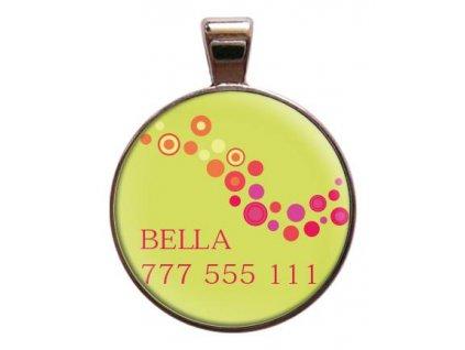 Namib Bella znamka pro psa na obojek se jmenem telefonnim cislem psi vyryti znamky barevna