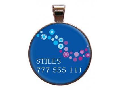 Bajkal Stiles znamka pro psa na obojek se jmenem telefonnim cislem psi vyryti znamky barevna
