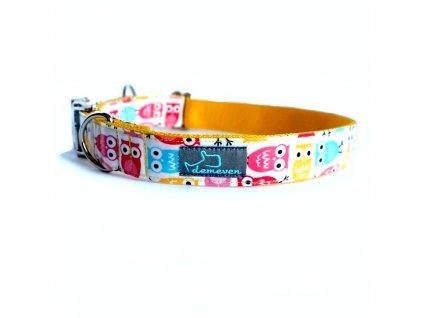 Owlieen shop Obojky pro psy obojek krasny stylovy designovy demeven s kovovou sponou dog collar beautiful stylish pink violet ruzovy fialovy psi obojek